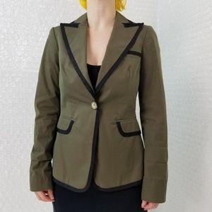 Etro Milano olive green & black trim blazer